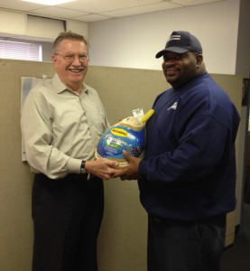 Alex Klemko provides all Moving Masters' employees with a Happy Thanksgiving turkey.